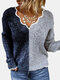 Contrast Color Leopard Patchwork Long Sleeve Sweater For Women - Black