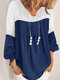 Lace Patchwork V-neck Long SleeveElastic Cuff Casual Blouse - Blue