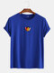 Mens Cotton Letter Graphic Print Round Neck Casual Short Sleeve T-Shirts - Dark Blue