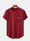 Mens Letter Print Curved Hem Plain Casual Cotton Short Sleeve T-Shirts - Wine Red
