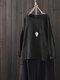 Solid Color Long Sleeve High Low Vintage Plus Size Blouse - Black