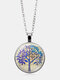 Vintage Glass Printed Women Necklace Tree Of Life Clavicle Chain Pendant Jewelry - Silver