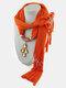 Vintage Women Scarf Necklace Solid Color Leaf Pendant Shawl Necklace - #9