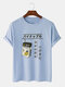 Mens 100% Cotton Pineapple Drink Print Japanese Style Short Sleeve T-Shirts - Blue