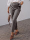 Solid Color Elastic Waist Lace-up Casual Pants With Pocket - Grey
