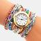 Vintage Colorful Printing Multi-layer Watch Metal Rhinestone PU Quartz Watch - Red