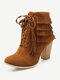 Women Elegant Fashion Tassel Boots Casual Chunky Heel Lace Up Short Moccasin Boots - Yellow