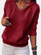 Women Solid Color Long Sleeve Hooded Casual Sweater With Pocket - Wine Red