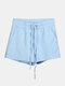 Women Pure Cotton Linen Drawstring Shorts With Pockets Breathable Outdoors Home Loungewear Bottoms - Blue2
