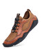 Men Hand Stitching Leather Splicing Mesh Fabric Breathable Soft Non Slip Casual Driving Shoes - Brown