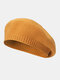 Women Knitted Solid Color All-match Octagonal Hat Beret - Yellow