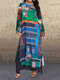 Ethnic Printed Long Sleeve O-neck Maxi Dress For Women - Green