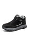 Women Casual Stitching Warm Lining Wearbale Hook & Loop Sports Shoes - Black