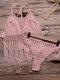Frauen aushöhlen Quaste trimmt rückenfreie Webart Halfter Holiday Beach Bikinis - Rosa