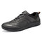 Mens Leather Sneakers Lace Up Casual Boards Shoes - Grey