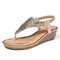 LOSTISY Clip Toe Sequined Slip On Wedges Beach Sandals