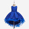 Girl's Floral Embroidered Patchwork Gauze Princess Casual Dress for 6-13Y - Blue