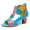 SOCOFY Bohemian Leather Cutout Breathable Comfy Open Toe Block Heel Casual Heeled Sandals - Blue