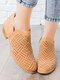 Women Large Size Solid Color Casual Brief Hollow Out Chunky Heels Ankle Boots - Brown
