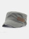 Unisex Cotton Solid Color Casual Retro Outdoor Sunshade Military Hat Army Hat Peaked Cap - Gray
