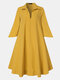 Solid Color V-neck Pocket Half Sleeves Casual Dress For Women - Yellow