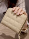Women PU Leather Quilted Bag Money Clips Multi-card Slots Coin Purse Wallet - Beige