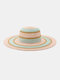Women Straw Woven Colorful Striped Pearl Decoration Big Brim Sunscreen Breathable Straw Hats - #01