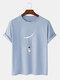 Mens Cartoon Astronaut Print Cotton Daily Loose O-Neck T-Shirts - Blue