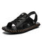 Men Open Toe Hand Stitching Outdoor Hole Leather Sandals - Black