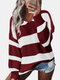 Contrast Color Striped Print Long Sleeves Sweater for Women - Wine Red