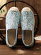 Women Sequined Decor Embroidered Lace Breathable Flats Espadrille Fisherman Shoes - Blue