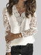 Lace Patchwork V-neck Solid Color Plus Size Casual Sweater - White