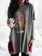 Christmas Print O-neck Long Sleeve Patchwork Plus Size Blouse with Pockets - Grey