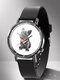 Animal Printed Men Business Watch Black-White Dogs Cats Pattern Women Quartz Watch - #06