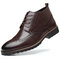Men Vintage Brogue Carved Lace Up Leather Dress Boots - Brown