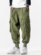 Mens 100% Cotton Utility Solid Color Drawstring Waist Cargo Pants - Green