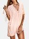 女性のかぎ針編みの中空カバーはプレーンVネックサイドスリットライト水着を持ち上げます - ピンク