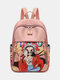 Chinese Style Oxford Cartoon Figure Print Pattern Exquisite Hardware Design Fine Texture Fabric Waterproof Wearable Backpack - Pink