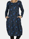 Calico Pocket Long Sleeve Casual Print Dress For Women - Blue
