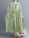 Floral Print Pocket Plus Size Big Swing Vintage Long Dress - Green
