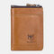 Men Anti theft Genuine Leather Short Wallet Purse - Brown