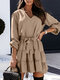Solid Color Long Sleeve V-neck Knotted Mini Dress For Women - Khaki