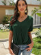 Solid Color V-neck Short Sleeves Casual T-shirt For Women - Green