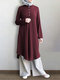 Solid Color Button Long Sleeve Pleated Casual Blouse Dress For Women - Wine Red
