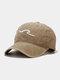 ユニセックス ウォッシュド オールド コットン 無地 3D 刺繍 サンシェード シンプル ベースボール キャップ - カーキ