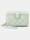 Women Multifunction Removable Card Case Quilting 6.5 Inch Phone Bag Wallet - Green