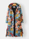 Vintage Printed Long Sleeve Hooded Knotted Coat For Women - Blue