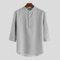 メンズ3/4スリーブスタンドカラーボタンブラウスプルオーバーカジュアルヘンリーシャツ - グレー