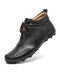Men Cow Leather Front Zipper Non Slip Soft Hand Stitching Ankle Boots - Black