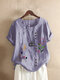 Embroidery Floral Short Sleeve O-neck Vintage T-shirt - Purple